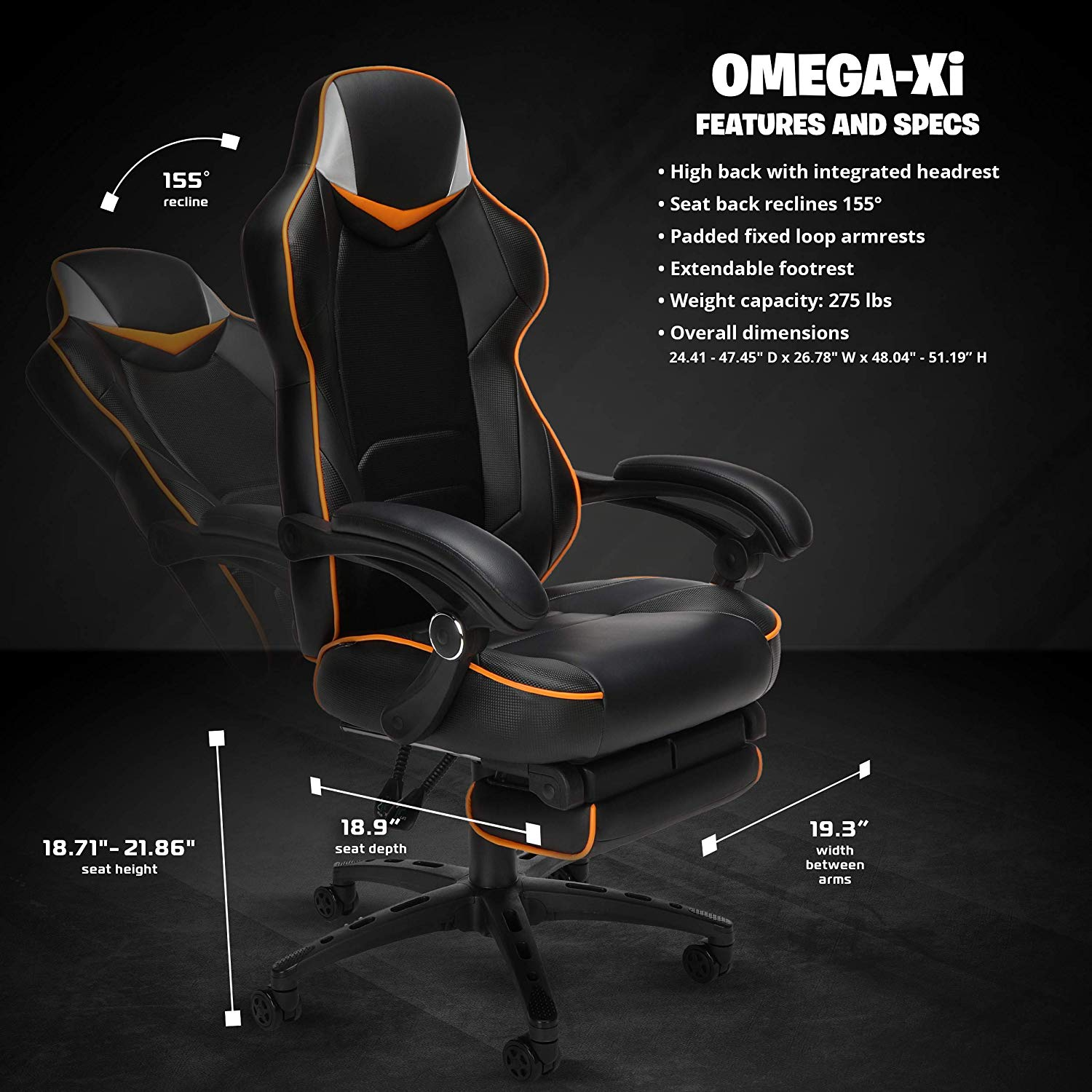 Reclining Ergonomic Chair with Footrest