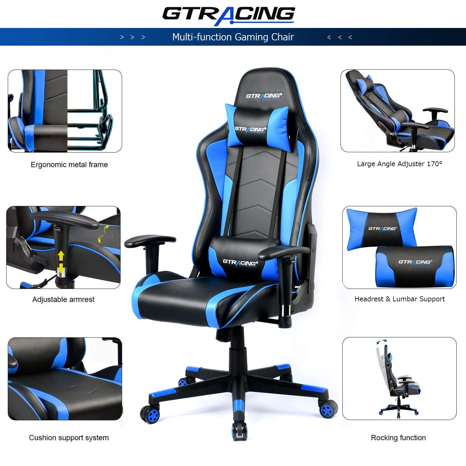 GTRACING Gaming Chair with Bluetooth Speakers