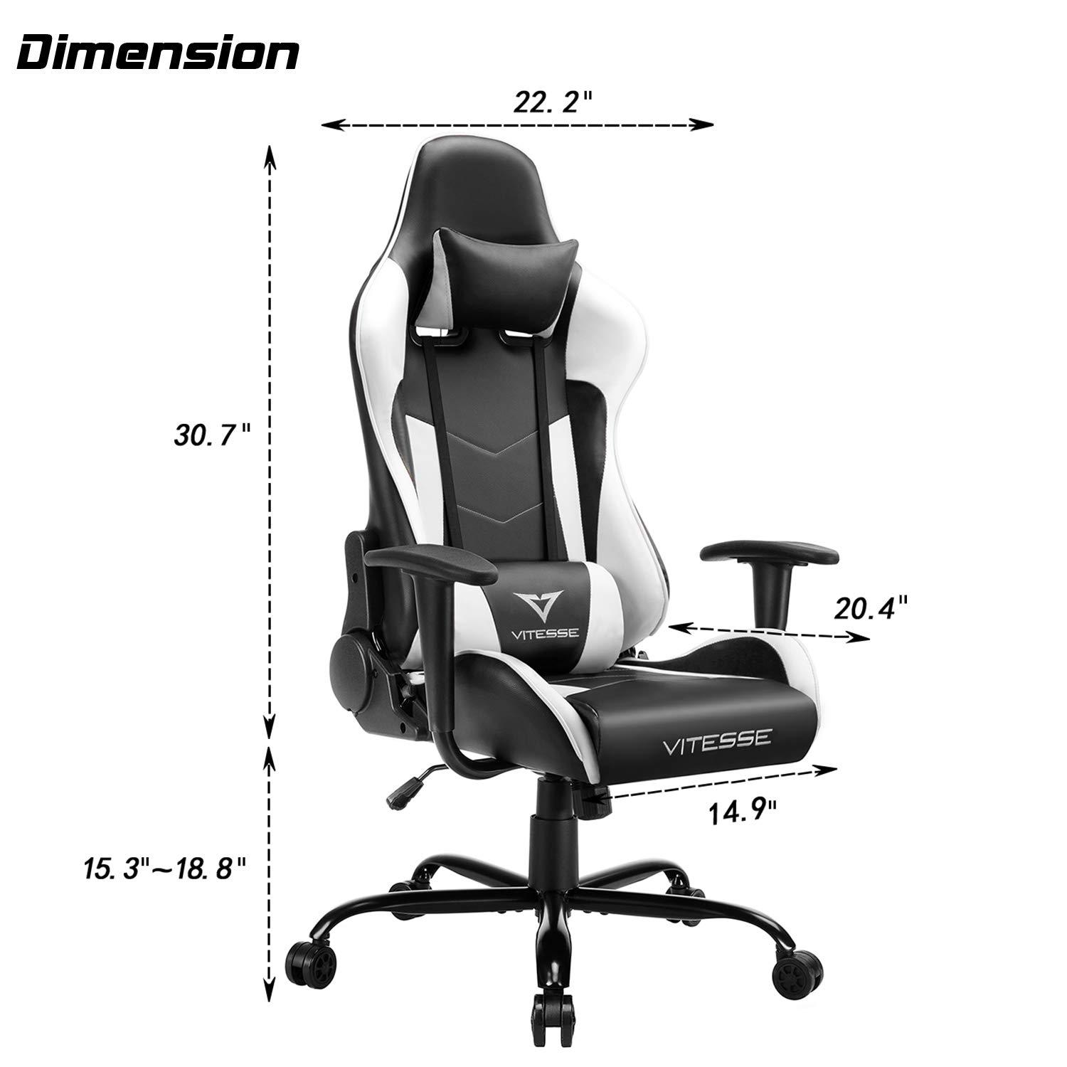 Vitesse Gaming Chair Dimension
