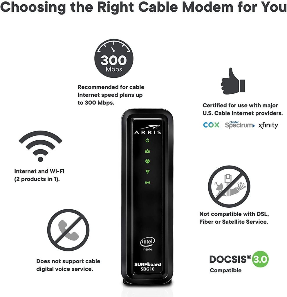 ARRIS Surfboard Cable Modem Router Combo